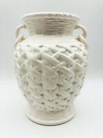 """Vintage MCM 1980's Nancy Lopez Ceramic 7"""" White Woven Basket Vase."""