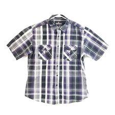 AIRWALK XL Men's Purple/Black/Grey Plaid Short Sleeve Shirt