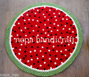 Size 90-200 cm Watermelon Hay Pom Felt Balls Rug Nursery Room Mat Carpets