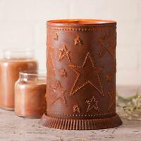 Country new large distress RUSTY tin punch STARS electric candle warmer light