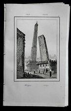 BOLOGNA:VEDUTA TORRI, GARISENDA - DEGLI ASINELLI = LEMAITRE.ITALIA.Artaud.1835