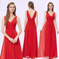 Ever-Pretty US Red Long Bridesmaid Dresses V-neck Sleeveless Evening Gown 08110