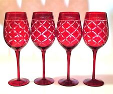 New Nina Home Set Of 4 All Purpose Red,Checker Pattern Glass Wine,Goblet Glass