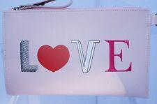 New Longchamp Kiss and Love Flat Cosmetic Wristlet Pink Pouch Wallet Pouchette