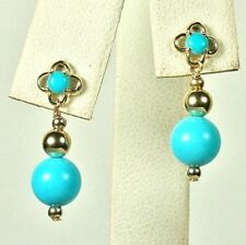 14k solid yellow gold 8mm round Turquoise small earrings screw back 1.5 grams