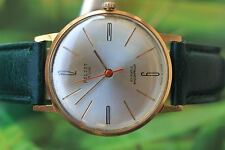 VINTAGE MEN'S BIG GOLD-PLATED RUSSIAN MECHANICAL POLJOT DELUXE WATCH 23 JEWELS!