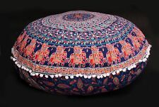 "32"" Indian Wedding Elephant Mandala Print Floor Pillow Cover Round Cushion Cover"
