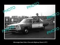 OLD LARGE HISTORIC PHOTO OF MISSISSIPPI STATE POLICE CHEVROLET PATROL CAR c1971