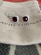 David Yurman Albion 7mm Garnet and Diamonds Stud Earrings
