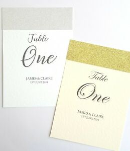 NEW 2019 'Sparkle' Wedding Table Numbers or Names with glitter personalised *top