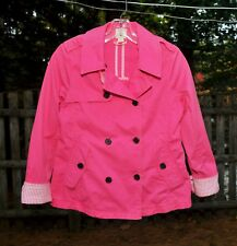 Girls Size 14 Land's End Kids Pink Cotton Jacket Double Breasted Swing Styling