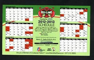 Maine Red Claws--2012-13 Magnet Schedule--NBDL--Celtics Affiliate