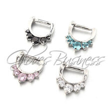 4pcs 14G Five Pronged Opalites 316L Surgical Steel Septum Clicker Ring Nose Ring
