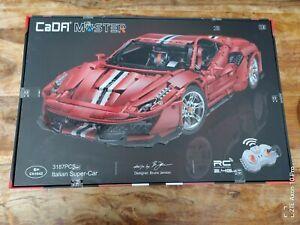 CaDa C61042W Ferrari Pista 488 Racing Car + Motoren & LED C61042 NEU&OVP 1