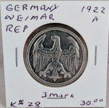 1922 A Germany Weimar Republic 3 Mark