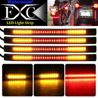 4x Motorcycle 48 LED Strip Tail Brake Stop Turn Signal Running Lights Red+Amber