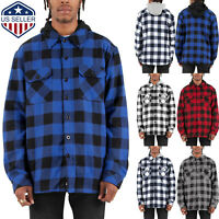 Mens Plaid Jackets Flannel Hoodie Long Sleeve Button Closure Pockets
