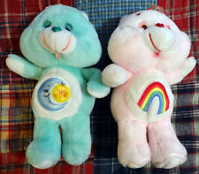 Vintage 1983 Care Bears plush lot of 2 Bedtime Bear & Cheer Bear 13""