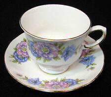 Queen Anne bone china cup & saucer deep pink and blue flowers gold trim. England