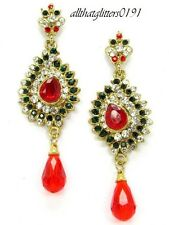Ethnic Traditional Gold Plated Indian Earrings With Red, Green & Clear Crystals