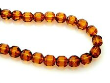 25 Topaz Gold Tortoise Stone Look Czech Glass 8mm Faceted Tube Cathedral Beads