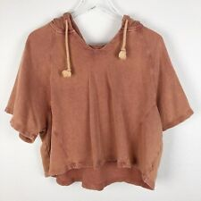 Billabong Hoodie Sweater Pullover M Medium Womens Crop Short sleeve Pink Cotton
