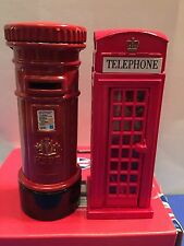 2 X Metallic London Icons Phone Box & Post Box British UK Souvenir Gift