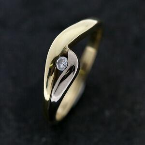 Gold Ring 585er Gelbgold Weißgold 14K | Gr. 56 | Solitär Brillant ca. 0,05ct.