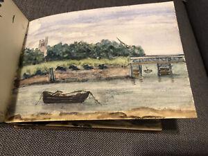 19C Runswick Bay England Watercolor Painting Artist Portfolio Lot Of 17 1880's