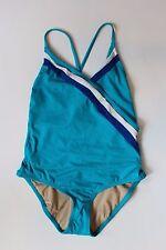 NWT J Crew Stripe Wrap One Piece Swimsuit Turquoise Sz 10 Medium C1782 $110