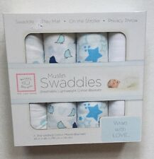 Muslin Swaddle by Swaddle Designs Pack of 4- Blue, Baby Gift (BNIB)
