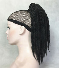 "Twist Crochet Braids Hair Weave Ponytail Hairstyles Black 16"" Clip on Extensions"