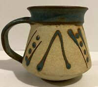 Studio Pottery Coffee Mug Geometric Design Glazed Inside 9 cm Tall, Signed