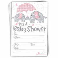 Pink Elephant Girl Baby Shower Invitations 20 Count with Envelopes