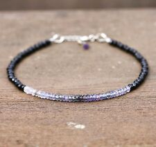 Natural Black Spinel and Ombre Purple Sapphire Bracelet Solid 14k White Gold 585