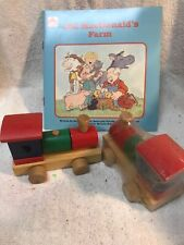 2 Toys And Book Wooden puzzle train handmade Blocks For 3-5 Years+old Macdonald