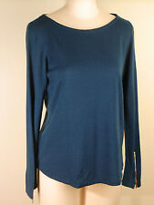 Ann Taylor Zip Sleeve Sweater Top Petite L NWT Teal Blue