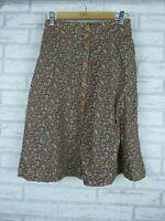 Princess Highway A-Line Skirt Brown, Purple Floral Print Button Front Sz 8