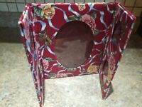Vintage Photo Frame Floral Red Cupid Cherub Handmade Travel Cloth Standing Table
