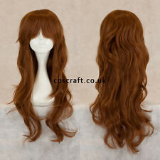 Long wavy curly cosplay wig with fringe in chestnut brown, Charlie style