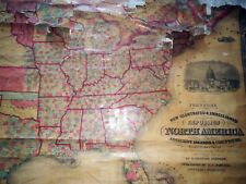 Circa 1857 GIANT JOHNSONS US NORTH AMERICA LINEN MAP - MORMON TEMPLE WHITE HOUSE