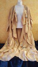 Native American Southwestern Style Unisex Camel Faux Pony Skin Maxi Coat Dress