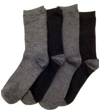 $40 BLOOMINGDALE'S New Women's 4-Pairs Pack BLACK & GRAY Crew Socks ONE-SIZE