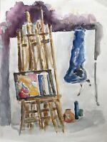 Acquerello Impressionista Scena Atelier Cavalletto Natura Morta 30 x 40 CM