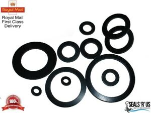 2MM THICK BLACK EPDM RUBBER FLAT ROUND RING WASHER SEAL GASKETS 12MM - 80MM OD