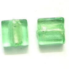 20 Silver Foiled Glass Square Beads12mm Lt Green