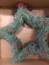 "RARE POTTERY BARN Juniper Star Leaf Wreath 20"" Hanging 5 Point Star Red Ribbon"
