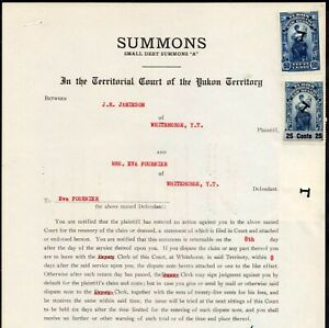 YUKON TERRITORY LAW STAMP #YL9 x2 + YL13 on 1953 LEGAL DOCUMENT