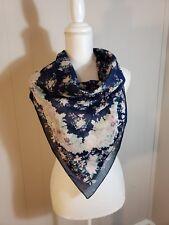 Laura Ashley Floral Silk Scarf Vintage Designer Blue Ivory Marroon Pinkish