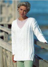Woman's tunic sweater, jumper, pullover knitting pattern in Aran.